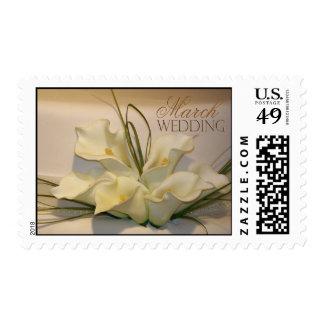 Franqueo del pastel de bodas de la cala de marzo - sello postal