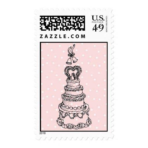 Franqueo del pastel de bodas del vintage