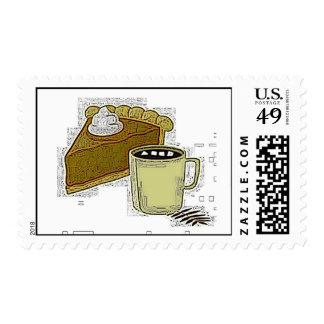 Franqueo del pastel de calabaza y del café sello
