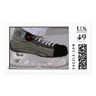 Franqueo del patín del hockey timbre postal