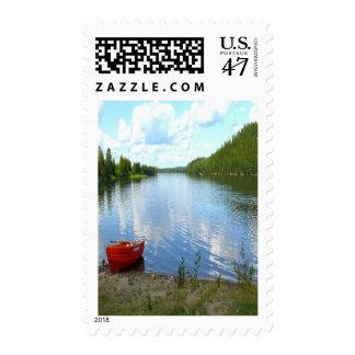 Franqueo del personalizado del barco del lago sello postal