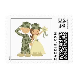 Franqueo del personalizado del boda del soldado y sello