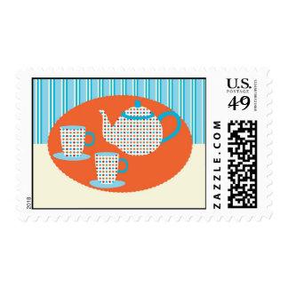 Franqueo del pote del té y de las tazas de té sello postal
