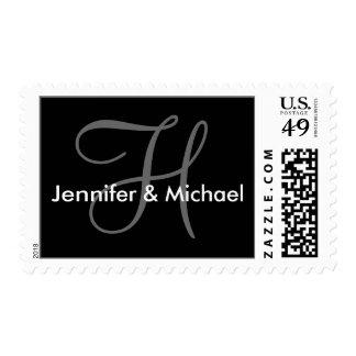 Franqueo del sello del boda del monograma H