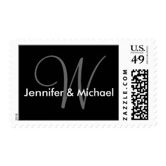 Franqueo del sello del boda del monograma W