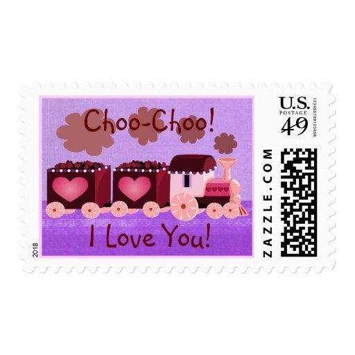 Franqueo del tren de Choo Choo de la tarjeta del Estampilla