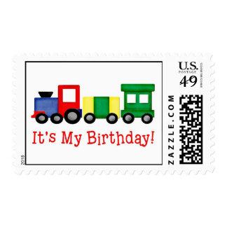 Franqueo del tren del cumpleaños sello postal