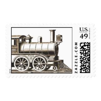 Franqueo del tren del vintage timbre postal