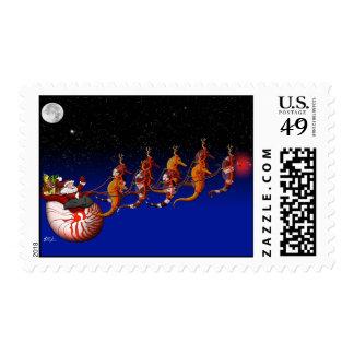 Franqueo del trineo de Santa y del Seahorse Timbre Postal