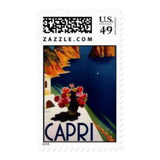 Franqueo del viaje de Capri Italia del vintage Timbres Postales