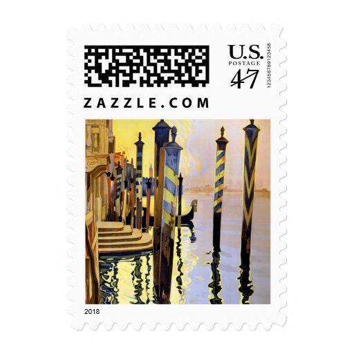 Franqueo del viaje de Venecia Italia del vintage Sellos Postales