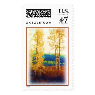 Franqueo descolorado de los álamos tembloses sello postal
