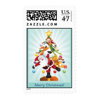 Franqueo divertido del árbol de navidad timbres postales