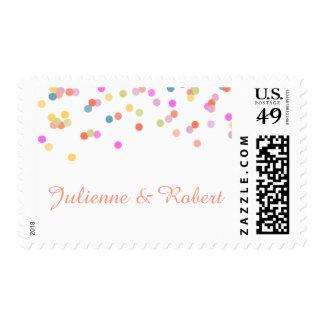 Franqueo el | moderno alegre del boda del confeti sellos postales