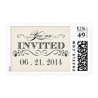 Franqueo elegante blanco del boda de la tipografía sellos