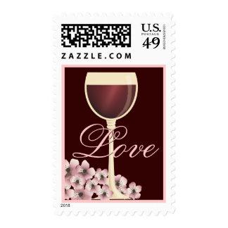 Franqueo elegante del amor del vino rojo y de la f