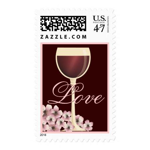 Franqueo elegante del amor del vino rojo y de la timbres postales