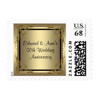Franqueo elegante del aniversario de boda del oro sello