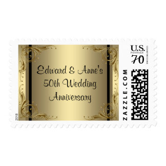 Franqueo elegante del aniversario de boda del oro