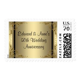 Franqueo elegante del aniversario de boda del oro sellos