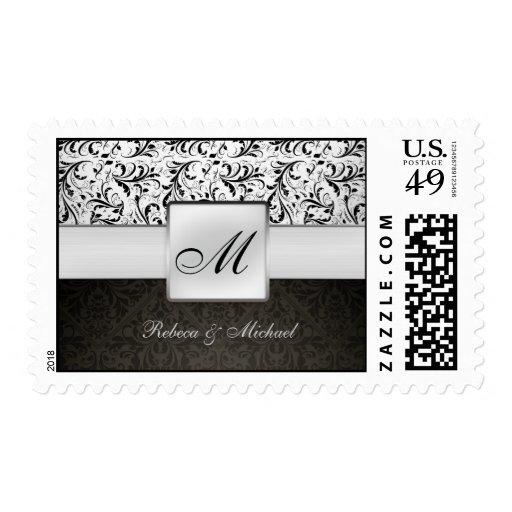 Franqueo elegante del boda del monograma del damas