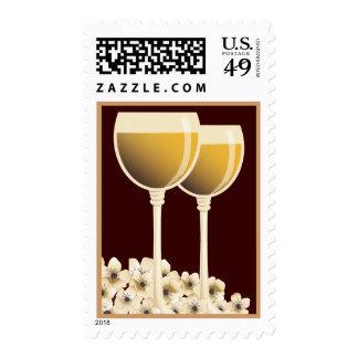 Franqueo elegante del flor del vino blanco y de la