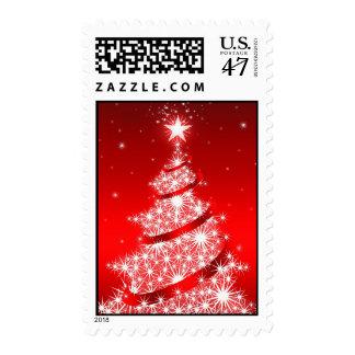 Franqueo elegante rojo del medio del árbol de sello postal