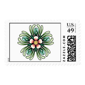 Franqueo encerrado color de rosa timbres postales