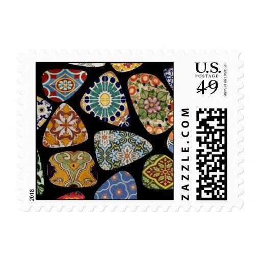 Franqueo español y mexicano del mosaico de la teja
