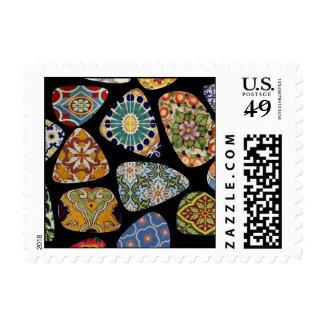 Franqueo español y mexicano del mosaico de la teja estampilla