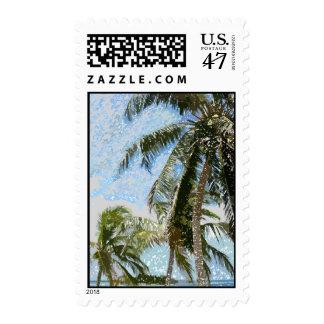 Franqueo exótico de las palmeras timbre postal