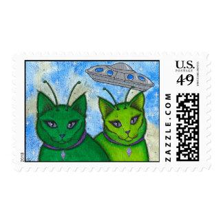 Franqueo extranjero del arte del gato de la sello postal
