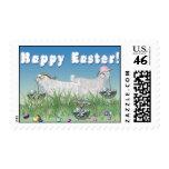 Franqueo feliz de las cabras del angora de Pascua