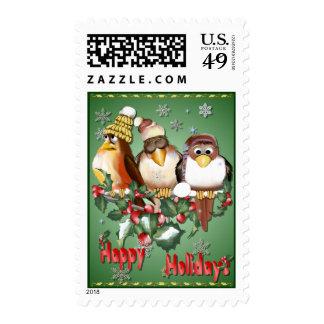 Franqueo feliz de los pájaros del navidad del día