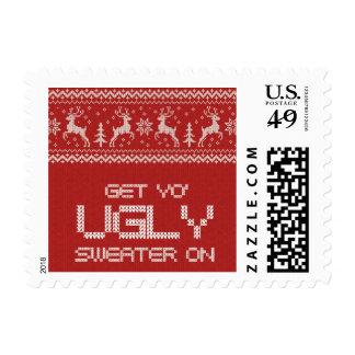 franqueo feo de la fiesta de Navidad del suéter Timbres Postales