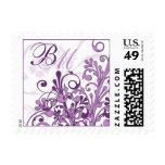 Franqueo floral abstracto púrpura y blanco del bod