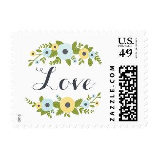 Franqueo floral azul encantador del amor del boda timbre postal