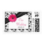 Franqueo floral blanco del boda del negro rosado d