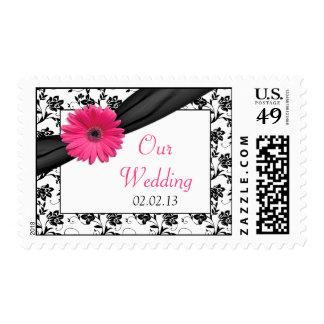 Franqueo floral blanco del boda del negro rosado sello