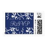 Franqueo floral de la vid de RSVP del azul real y