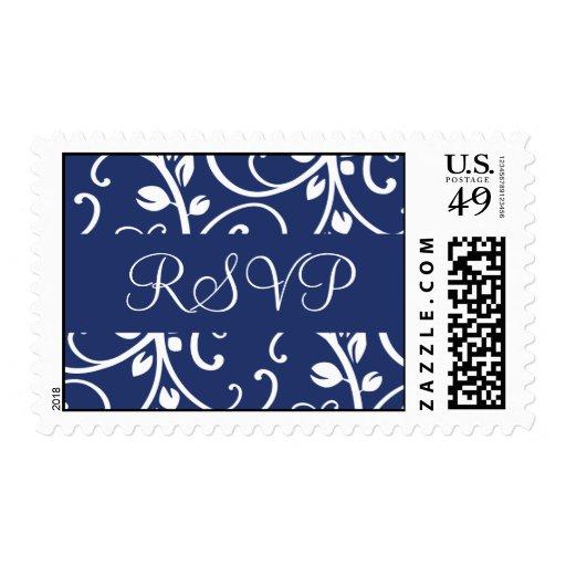Franqueo floral de la vid de RSVP del azul real y Timbre Postal