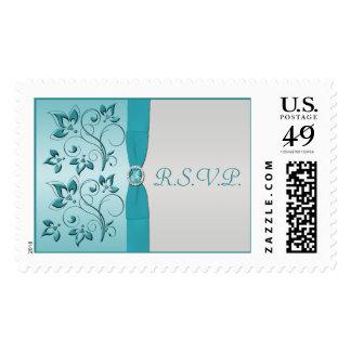 Franqueo floral de RSVP de la aguamarina y de la