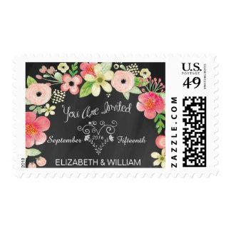 Franqueo floral del boda de la pizarra del vintage