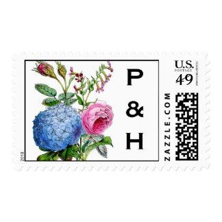 Franqueo floral del boda de los rosas del Hydrange Timbres Postales