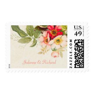 Franqueo floral del boda del ramo el | del vintage sellos postales
