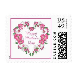 Franqueo floral del corazón del día de madre timbres postales