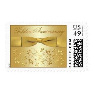 Franqueo floral del oro de oro del aniversario