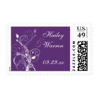 Franqueo floral púrpura y blanco del boda