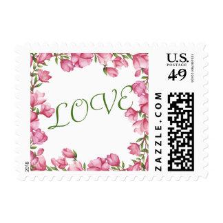 Franqueo floral rosado del amor del marco