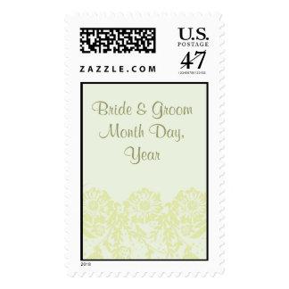 Franqueo floral verde del boda del fondo sellos